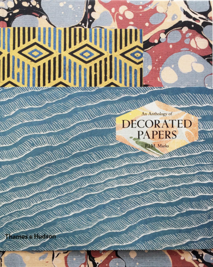 Decorated Papers cover with a collage of different types of papers.Richly ornamented papers have been in use for centuries but often go unnoticed.