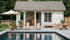 A cottage-inspired pool house. Small and comfortable.